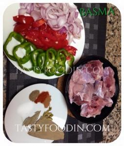 لحم طماطم بصل فلفل اخضر